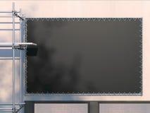 Witte Zwarte aanplakbord en metaalsteiger het 3d teruggeven Royalty-vrije Stock Foto