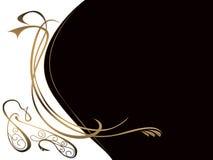 Witte zwarte achtergrond met gouden patroon Stock Afbeeldingen