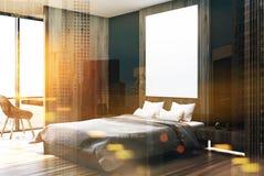 Witte, zwarte en houten slaapkamer, gestemde kant royalty-vrije illustratie