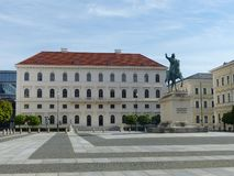 Wittelsbachersplatz with the statue of the elector Maximilian I. Munich. Germany. Wittelsbachersplatz with the statue of the elector Maximilian I, Munich royalty free stock image