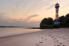 Wittenbergen beach and lighthouse Stock Photo
