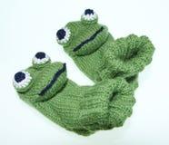 Witty baby, children frog socks, socks, knitted. Witty baby, children frog style socks, socks, knitted Stock Photography