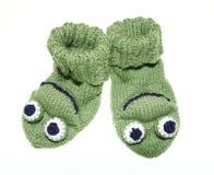 Witty baby, children frog socks, socks, knitted. Witty baby, children frog style socks, socks, knitted Stock Photo