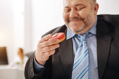 Witty hungry employee delighted to have a snack. Finally happy. Unhealthy stout funny guy looking at the doughnut and dreaming of finally eating it after working Royalty Free Stock Photo