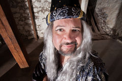 Witty Wizard. Witty European male wizard with long hair and beard Stock Photo