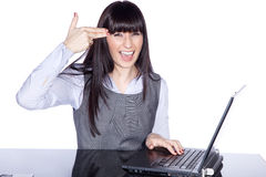 Witty woman with laptop Stock Photo