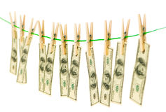 Witwassen van geldconcept met dollars Stock Fotografie
