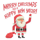 Święty Mikołaj z torbą pełno prezenty Wesoło boże narodzenia i Szczęśliwy nowego roku kartka z pozdrowieniami z ręki literowania  Zdjęcia Royalty Free