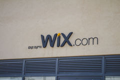 Wix σημάδι COM σε ένα από τα κτήρια Wix στο distri λιμένων του Τελ Αβίβ στοκ φωτογραφία με δικαίωμα ελεύθερης χρήσης