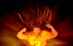 Wizard. With glowing magical orb, close up Royalty Free Stock Images