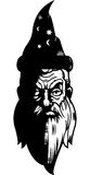 Wizard. A black and white wizard illustration Stock Photos