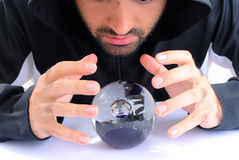 Wizard. And his Crystal Ball - Waiting for your Future royalty free stock photography