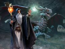 Free Wizard And Dragon Scene 3d Illustration Stock Image - 138108291