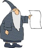 Wizard with a blank sign vector illustration