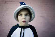 Wizard Boy. Close-up of a young boy in a wizard costume and hat Royalty Free Stock Photos