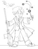 Wizard boy. Coloring page with wizard boy with broomstick and magic wand stock illustration