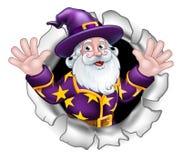 Wizard Breaking Through Background Cartoon Stock Illustration