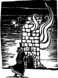 Wizard and Burning Tower. Woodcut style image of a wizard standing in front of burning castle tower Royalty Free Stock Photos