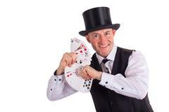 Wizard with cards Stock Photos