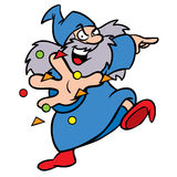 Wizard cartoon character. Cartoon illustration of a friendly looking wizard casting a spell Royalty Free Stock Photography
