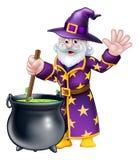 Wizard Cartoon Character. A cartoon Halloween wizard character stirring a cauldron and waving Stock Photos
