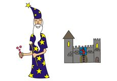 Wizard and a castle. An illustrion of a wizard and a castle Royalty Free Stock Image