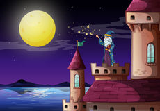 A wizard in the castle's tower Stock Image