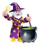 Wizard Cauldron Cartoon. A cartoon Halloween wizard character stirring a cauldron and waving a magic wand Royalty Free Stock Image