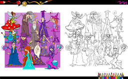 Wizard characters group coloring book Royalty Free Stock Image