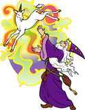 Wizard conjuring a unicorn. Stock Photos