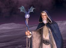 Wizard in Desolate Landscape. A wizard walks across a desolate landscape - 3d render vector illustration