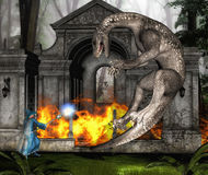 Wizard and Dragon in Battle II. 3D computer graphics of a battle between wizard and dragon in fantasy style stock illustration