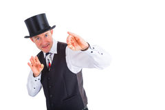Wizard gesture. Wizard with top hat makes gesture Stock Photos