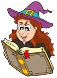Wizard girl reading magic book. Vector illustration vector illustration