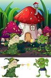 Wizard and goblin in nature. Illustration stock illustration