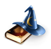 Wizard hat and old book Royalty Free Stock Photos