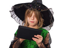 Wizard and her tablet Stock Photos