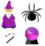 Wizard and his work tools. Set of Halloween in violet Stock Photo