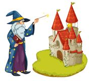 A wizard holding a book and a magic wand in front of the castle. Illustration of a wizard holding a book and a magic wand in front of the castle on a white Stock Photography