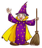 A wizard holding a broomstick. Illustration of a wizard holding a broomstick on a white background stock illustration