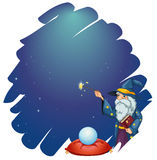 A wizard holding a magic wand and a book in front of the crystal. Illustration of a wizard holding a magic wand and a book in front of the crystal ball on a Stock Image