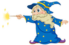 A wizard holding a magic wand Stock Image