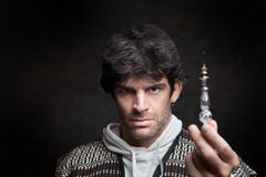 Wizard Holds Potion Bottle Stock Photos