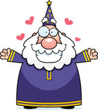 Wizard Hug. A happy cartoon wizard ready to give a hug Stock Photo
