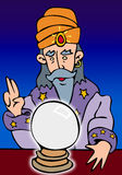 Wizard Illustration. Color illustration of a wizard looking into a crystal ball. Vector art royalty free illustration