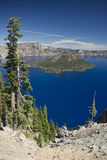 Wizard Island. Overview of Wizard Island at Crater Lake National Park in Oregon, looking at the deepest lake in the US Stock Image