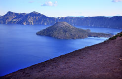 Wizard Island Blue Crater Lake Black Rim Oregon Stock Photos
