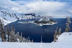 Wizard Island in caldera lake in Crater Lake National Park Oregon USA Royalty Free Stock Image