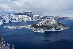 Wizard Island in caldera lake in Crater Lake National Park Oregon USA Stock Photos