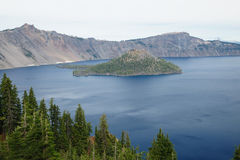 Wizard Island in crater lake stock photography